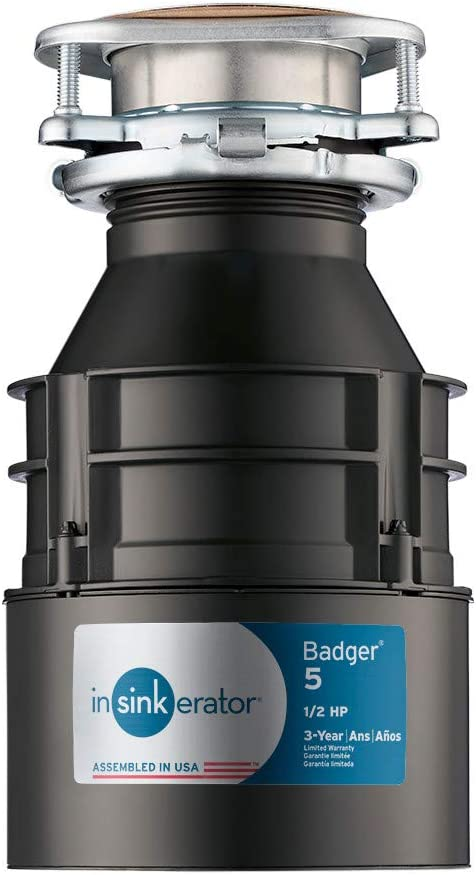 InSinkErator Garbage Disposal, Badger 5, 1/2 HP Continuous Feed, Black - Garbage Disposal -