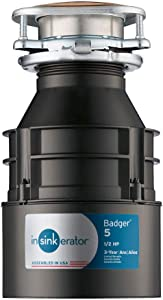 InSinkErator Garbage Disposal, Badger 5, 1/2 HP Continuous Feed,Black