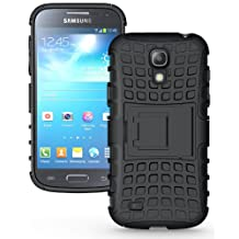 JKase DIABLO Series Tough Rugged Dual Layer Protection Case Cover with Build in Stand for Samsung Galaxy S4 Mini i9190 - Retail Packaging (Black)