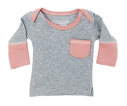 Baby Organic Cotton Long Sleeve Shirt (Mauve/Heather Gray, 3-6 Months) (Organic Lap Shoulder Tee)
