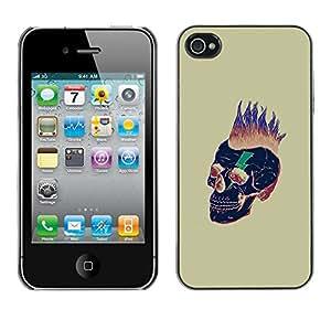 GOODTHINGS Funda Imagen Diseño Carcasa Tapa Trasera Negro Cover Skin Case para Apple Iphone 4 / 4S - punky muerte cráneo del oro del pelo negro