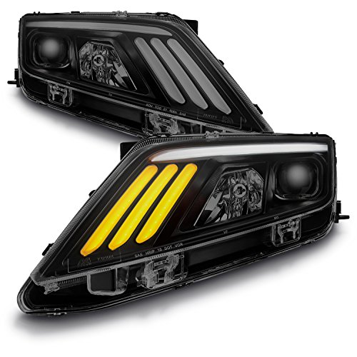 (For 2010-12 Ford Fusion Black Smoked LED Daytime Running Lamp Strip Projector Headlights w/Sequential Turn Signal)