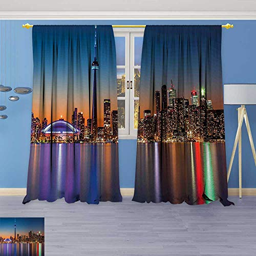 70% Blackout 2 Panels Curtains,Theme A Cityscape View of Toronto and The Skyscrapers at Dusk Digital Print Thermal Insulated Drapes for Bedroom