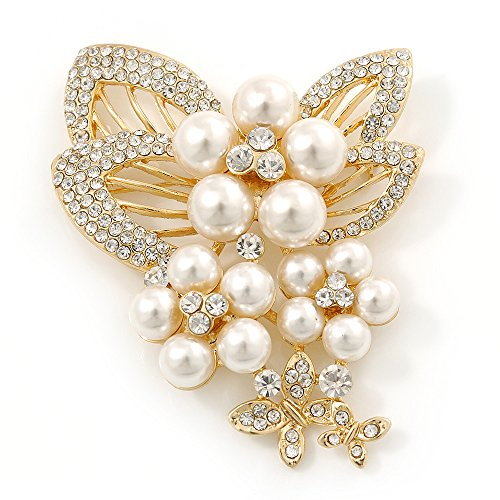 Avalaya Bridal White Faux Pearl, Clear Austrian Crystal Floral Brooch In Gold Tone - 75mm L