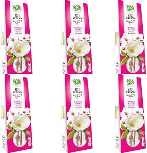 6x Fresh&More Raum-Duftvasen Lufterfrischer, (3x 35ml) (Magnolie & Kirschblüte)