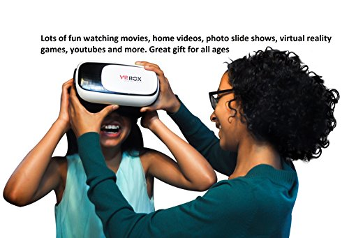 VR Headset | Virtual Reality Goggles VR Box 2.0 for movies, gaming, and photos| Bluetooth Compatible |works with Smartphones 4.7 to 6 Inch Smartphones iPhone 6 plus 6 5s 5 Samsung Galaxy IOS Android
