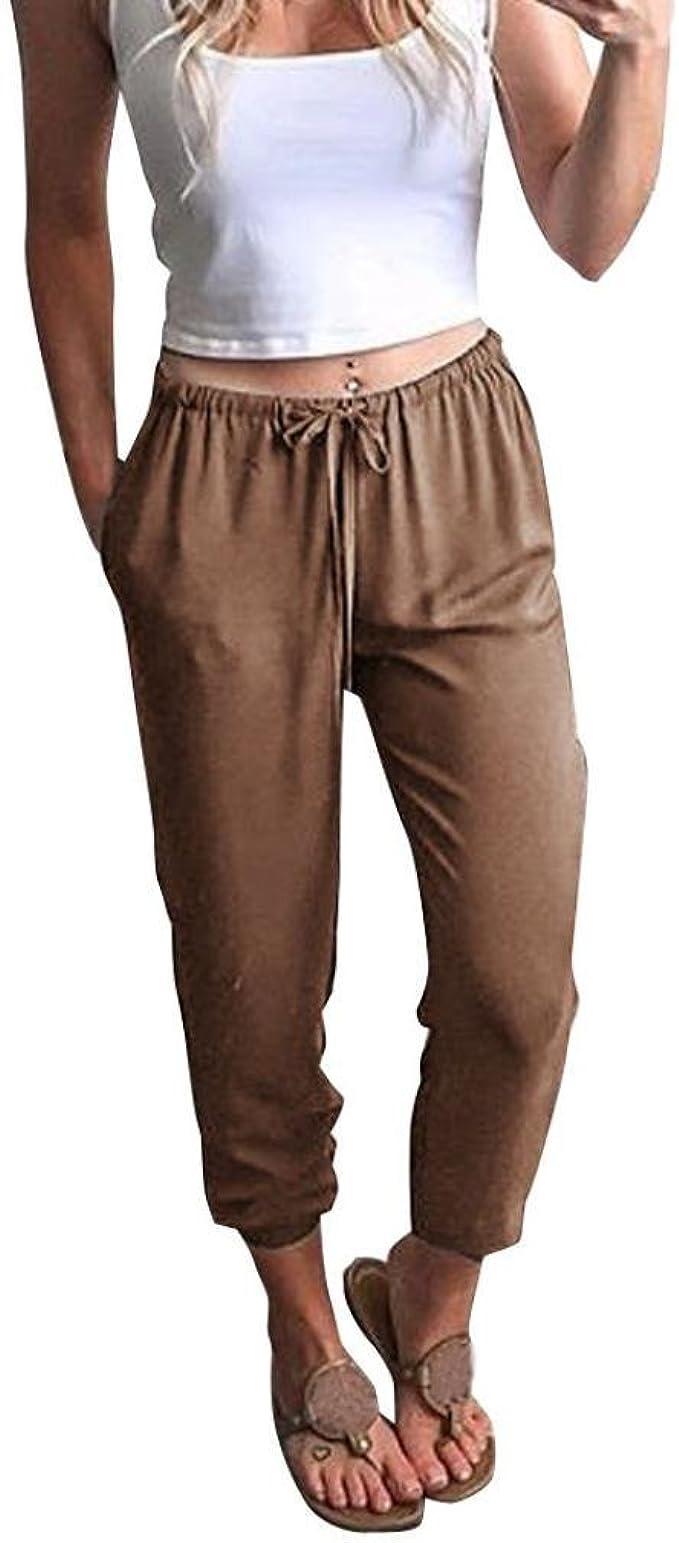 Amazon.com: Caopixx - Pantalones de lino para mujer con ...