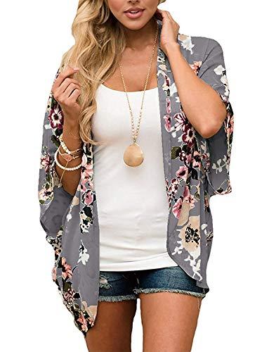 - Chunoy Women Casual Summer Open Front Blouse Top Chiffon Kimono Cover Up Grey X-Large