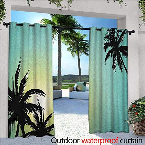 ndoor/Outdoor Single Panel Print Window Curtain Hawaiian Miami Beach Island Palm Trees with Sun Like Clear Skies Art Print Image Silver Grommet Top Drape W108 x L84 Seafoam Black ()