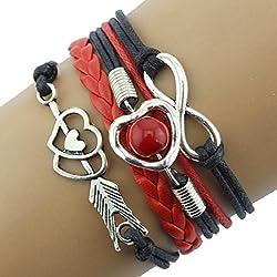 Ikevan Newest Love Heart Pearl Friendship Antique Leather Charm Bracelet Multilayer Weaving Bracelet Hand Strap Gift for Women Girls (Black)