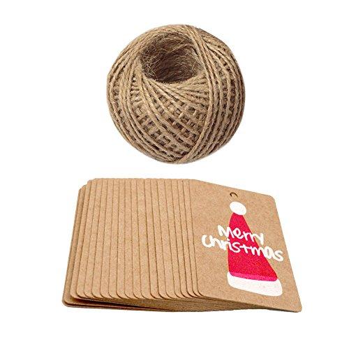 100pezzi carta kraft etichette regalo di natale con 100piedi corda di juta naturale Merry Christmas Hat JIJA