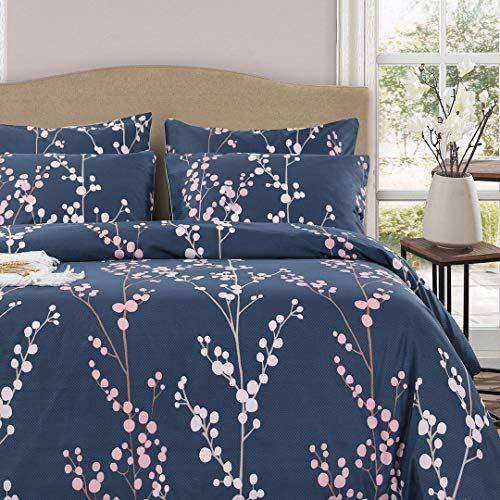 (Queen's House Elegant Floral Print Cotton Bed Sheet Set Deep Pocket-King,Blue)