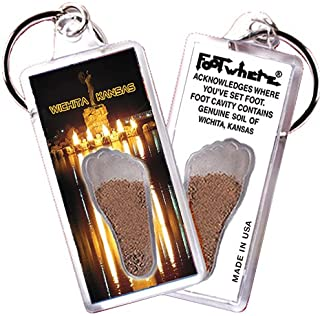 "product image for Wichita, KS ""FootWhere"" Souvenir Keychain. Made in USA (WCT102 - Keeper)"