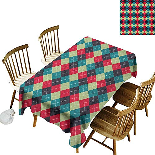kangkaishi Rectangular tablecloths in a Variety of Colors and Sizes Can be Used for Parties Classical Argyle Diamond Line Pattern Vintage Traditional Colorful Retro W52 x L70 Inch Multicolor (Diamonds Pink Hot Argyle)