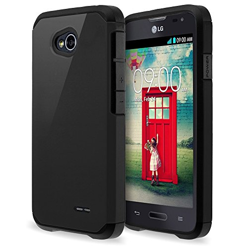 LG Optimus L70 L41C Exceed 2 Realm Pulse Ultimate 2 Case - Hybrid Dual Layer Defender Protective Case Cover for LG Optimus L70 Exceed 2 Realm Pulse Ultimate 2 Case [Drop/Shock-Absorption] - Black