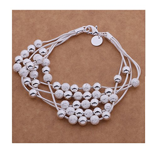 925 Silver Many Lines (IVYRISE Five-line Chain with Five-bead beautiful Bracelet)