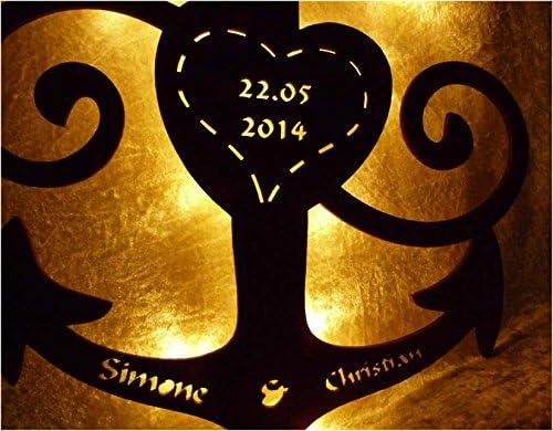Schlummerlicht24 Partner Geschenke Anker Ruder Liebe Unendlichzeichen Holz maritim Geschenk mit Namen individuell