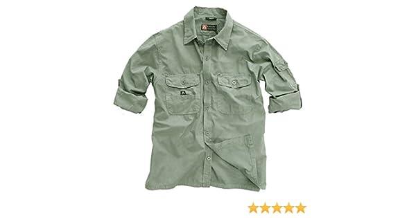Outdoor de Safari de Señor Camisa En Beige, Marrón y Verde de algodón ligero, manga larga camiseta de cuántos Nuestros Otros camisas disponible hasta 5 X l, hombre, color Moss, tamaño extra-small: