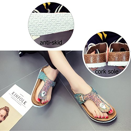 Shoes Women Blue Sandals Slip Flip Glitter on Slippers Cork Flops Beach Sole Summer Comfort 07Z0xr