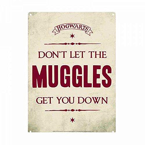 - Harry Potter Tin Sign Muggles 21 x 15 cm Half Moon Targhe Metallo