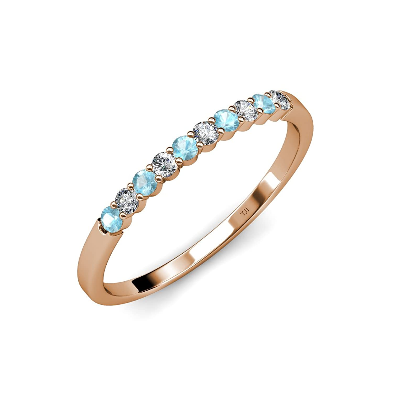 Aquamarine and Diamond (SI2-I1, G-H) 10 Stone Wedding Band 0.55 ct tw in 14K Gold