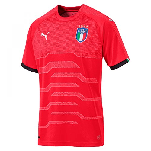 PUMA 2018-2019 Italy Away Goalkeeper Football Soccer T-Shirt Jersey (Red)