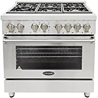 Cosmo COS-DFR366 36 in. Freestanding Professional Style Dual Fuel Range with 4.5 cu. ft. Electric Convection Oven, 6 Italian Made Burners, Cast Iron Grates, in Stainless Steel