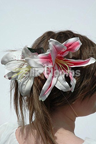 Beautiful, Life Like Stargazer Lily Wedding Flowers Hair Comb