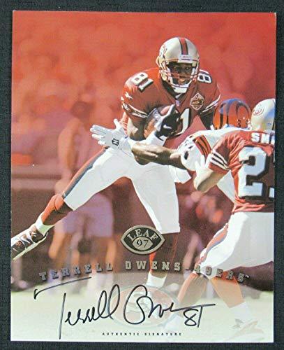 Autographed Terrell Owens Photo - 1997 Leaf 8x10 Card - Autographed NFL Photos ()