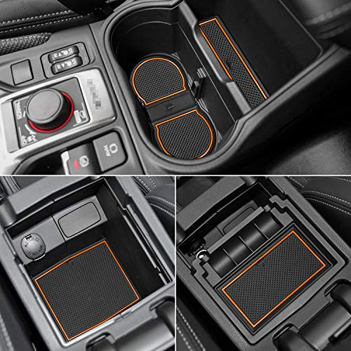 Auovo Anti Dust Door Mats for Subaru Forester 2019 2020 Interior Accessories Custom Fit Door Compartment Cup Center Console Liners(17pcs) (Orange)