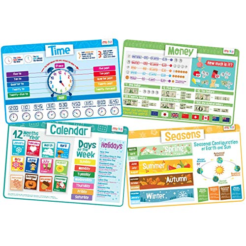 merka Educational Placemats for Kids - Time Set - Bundle of 4 Mats - Time, Calendar, Seasons and Money - Non Slip, Washable and Reusable - Learn About Week Days, Months, Coins, Bills, Holidays