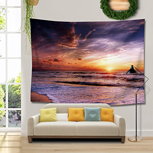 RAISEVERN 3D Tapestry Red Sunset Beach Holiday Hawaii Wall Tapestries Tablecloth Dorm Tapestry Sheet Wall Art Classic Tapestries Wall Hanging (Sunset Glow,59.1''X51.2'') by RAISEVERN