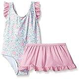 Sol Swim Little Girls' Solo Swim-Toddler-Rosie's Garden One Pc Swimsuit with Skirt, Multi, 3T