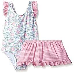 Sol Swim Little Girls\' Solo Swim-Toddler-Rosie\'s Garden One Pc Swimsuit with Skirt, Multi, 3T