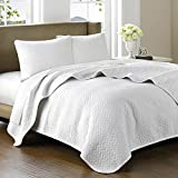 Hampton Hill Bellville Cotton Quilted Coverlet Set, Queen, White
