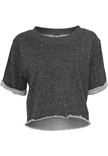 Urban Classics Mujer Ladies Melange Cropped Short Sleeve Crew parcialmente vientre libre–Camiseta Blk/Gry