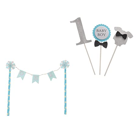 MagiDeal 4 Set Cute Blue ONE Cake Topper Banner Baby Boy 1st Birthday Party Decoration