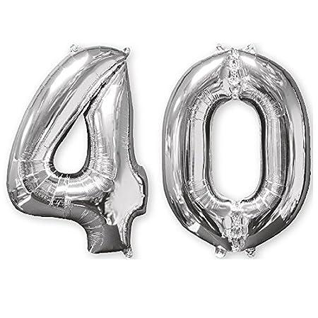 Globo Número 40 color Plateado de 70 cm. para Aire o Helio. Globo Cumpleaños o Aniversario.