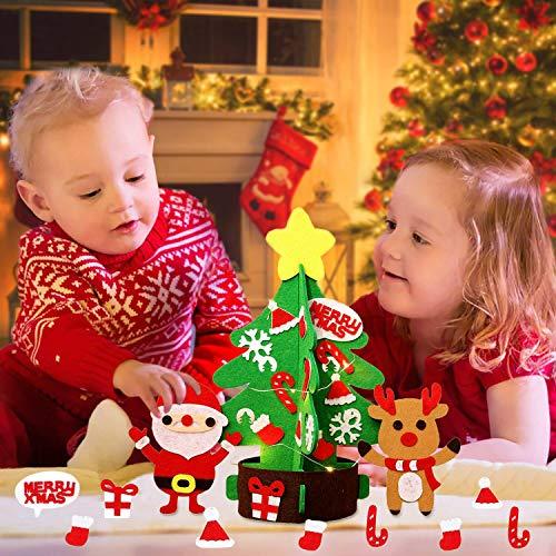 JUSTDOLIFE Felt Christmas Tree, DIY Felt Xmas Tree Set Detachable Ornaments Felties Craft Desk Decor Kits Decor Toy Gift for Kids Toddler
