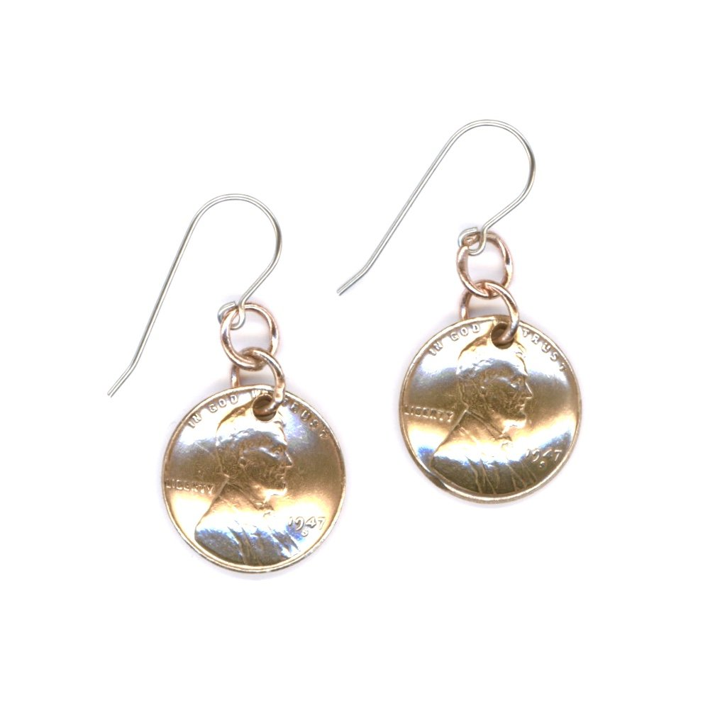 Amazon 70th Birthday Jewelry Gift Ideas For Women1947 Dangle Metalwork Penny Coins Earrings Women Sisters Friends Mothers Handmade
