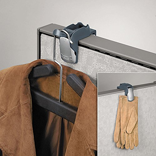 FELLOWES MANUFACTURING 7501101 Pro Series Partition Additions Coat Hook and Clip, 1 5/8 x 3, Slate Gray