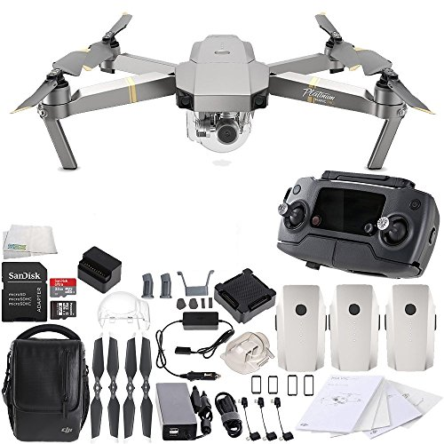 DJI Mavic Pro Platinum FLY MORE COMBO Collapsible Quadcopter Drone Bundle by SSE