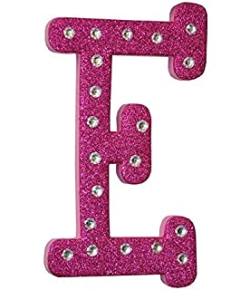 craft for kids pink foam glitter letter e with clear rhinestones