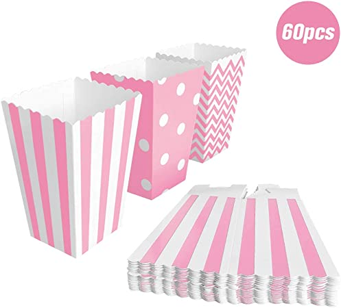 BangShou 60pcs Cajas de Palomitas Cartón Caramelo Contenedor Cine Pequeñas Cajas de Palomitas de Maíz 12 x 7.5cm (Rosado): Amazon.es: Hogar