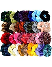Chloven 40 Pcs Hair Scrunchies Premium Velvet Elastic Scrunchie Hair Ties Hair Bow Chiffon Ponytail Holder Scrunchy Hair Accessories for Women Girls-30 Colors Premium Velvet,10 Colors Chiffon Flower