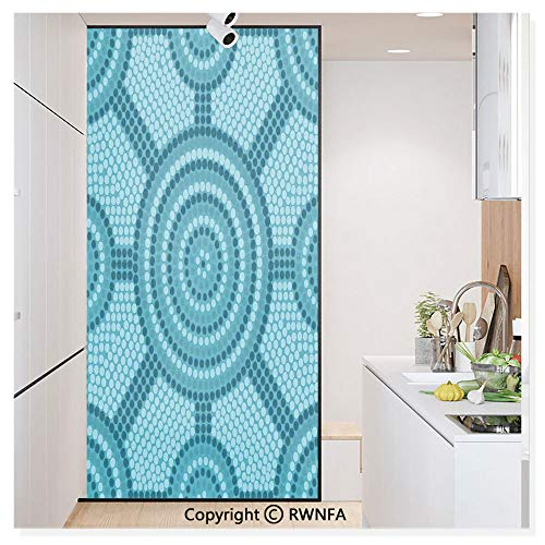 RWN Film Window Films Privacy Glass Sticker Abstract Aboriginal Dot Painting Ancient Native Ethnic Cultural Art in Australia Static Decorative Heat Control Anti UV 30In by 59.8In,Teal