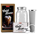 Premium Cold Brew Coffee Maker, Pitcher, Stainless Filter, Diy Tea Brewer & Recipes Kit 1 Quart (32oz) Kit