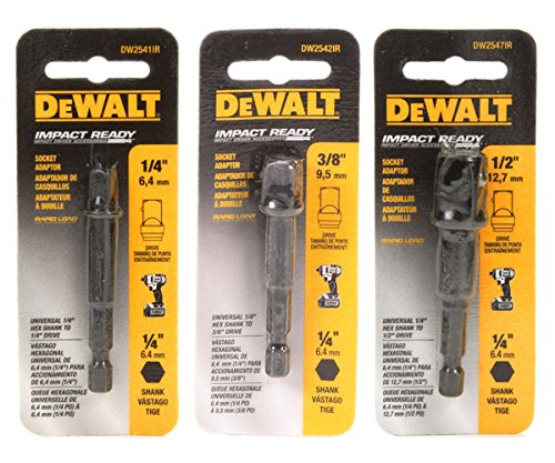 DeWalt Impact Driver Ready 3-Piece Socket Adapter Set DW2541IR, DW2542IR, DW2547IR - Hex Socket Head Adapter