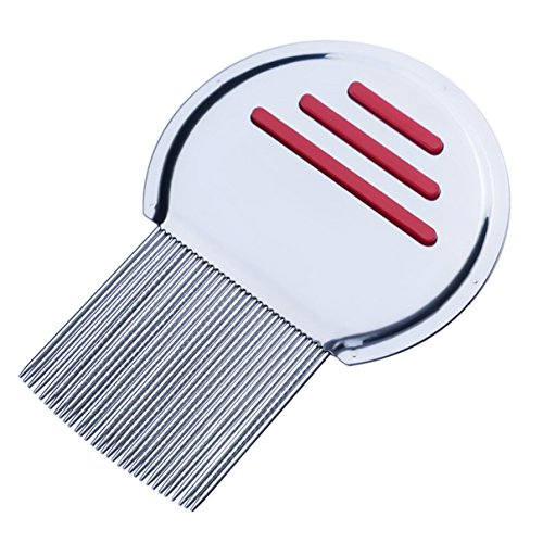 1 Set Combs Hair Brush Stainless Steel Terminator Lice Comb Nit Free Kids Rid Headlice Super Density Teeth Remove Nits Pocket Round Handle Holder Dazzling Popular Beard Natural Travel Kit, Type-02