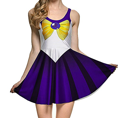 BOMBAX Girls Sailor Moon Skater Dress Stretchy Anime Cosplay Costume Mini Skirt -